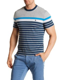 Colorblock Striped Crew Neck Tee
