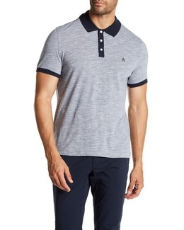 Contrast Collar Slub Polo Shirt