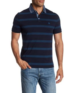 Twill Striped Short Sleeve Polo