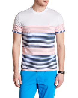 Short Sleeve Engineered Stripe Tee