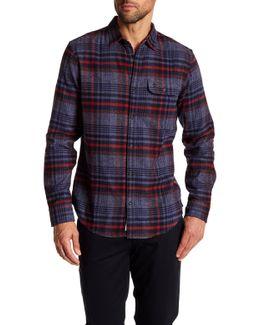 Trim Fit Twisted Yarn Plaid Shirt