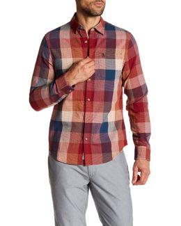 Long Sleeve Slubby Checkered Slim Fit Woven Shirt
