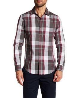 Long Sleeve Plaid Slim Fit Woven Shirt