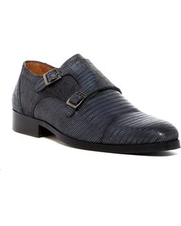 Snape Cap Toe Reptile Embossed Double Monk Shoe