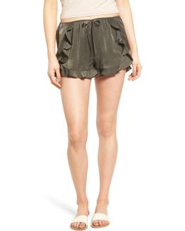 Ruffle Satin Shorts