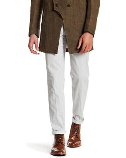 White Pinstripe Flat Front Trouser