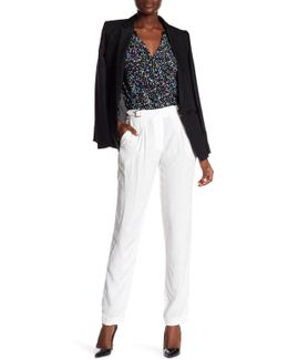 Pleated Trouser With Attached Belt Buckle