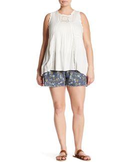 Printed Frayed Hem Linen Blend Short (plus Size)