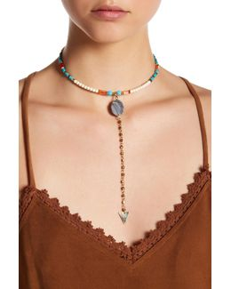 Turquoise & Howlite Beaded Y Choker
