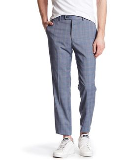 Blue Plaid Flat Front Trouser