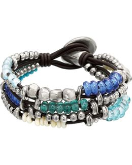 Ride The Wave Glass Rondelle Beaded Leather Bracelet