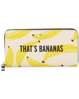 That's Bananas Lacey Zip Around Leather Wallet