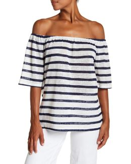 Striped Off-the-shoulder Trapeze Tee