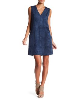Faux Suede Patch Pocket Dress