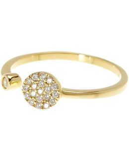 14k Yellow Gold Plated Sterling Silver Swarovski Crystal Circle Open Band Ring
