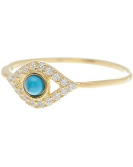 14k Yellow Gold Vermeil Turquoise & Swarovski Crystal Accented Evil Eye Ring