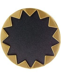 Starburst Genuine Leather Cocktail Ring - Size 5