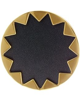 Starburst Genuine Leather Cocktail Ring - Size 7