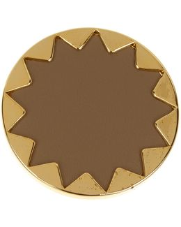 Sunburst Genuine Leather Cocktail Ring - Size 5