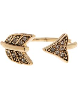 Crystal Detail Open Arrow Ring - Size 5
