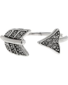 Crystal Detail Open Arrow Ring - Size 7