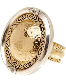 Engraved Round Statement Ring - Size 7
