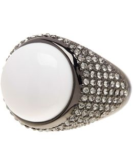 Embellished White Agate Ring
