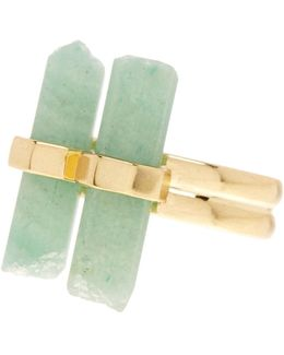 Double Aventurine Dainty Ring
