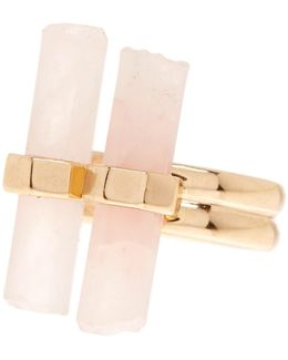 Double Rose Quartz Dainty Ring