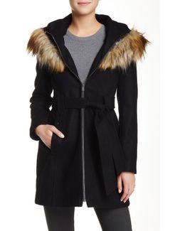Faux Fur Hooded Wool Blend Long Coat