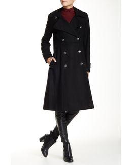 Fit & Flare Wool Blend Maxi Coat