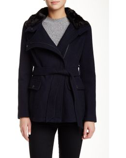 Faux Fur Trim Collar Belted Coat