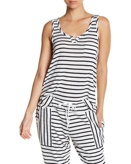 Split Neck Striped Tank