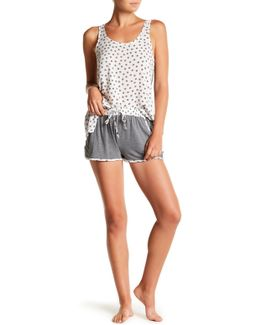 Knit Print Trim Shorts