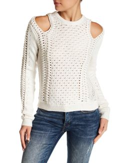 Cold Shoulder Open-knit Sweater
