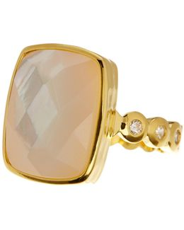Mia Rectangular Mother Of Pearl Ring - Size 9