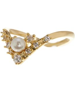Kendall Pearl & Cz Cluster V-shaped Ring - Size 7