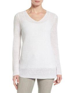 V-neck Organic Linen Sweater