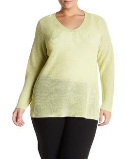 Organic Linen Rib Knit Pullover (plus Size)