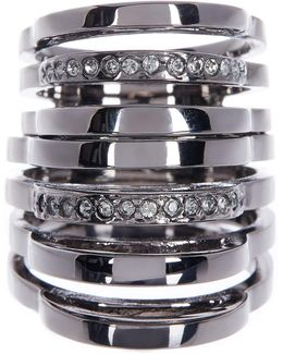 Lina Pave Double Flex 7 Bar Ring - Size 7
