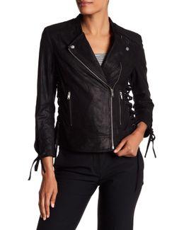 Rena Lace-up Genuine Leather Biker Jacket