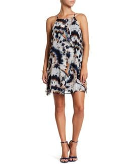 Ruffled Sleeveless Tie Dye Dress