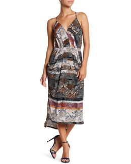 Sleeveless Surplice Printed Hi-lo Maxi Dress