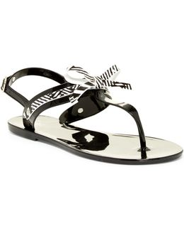 Ribbons Ankle Strap Thong Sandal