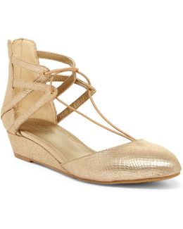 Why Not Reptile-embossed Wedge Lace Sandal