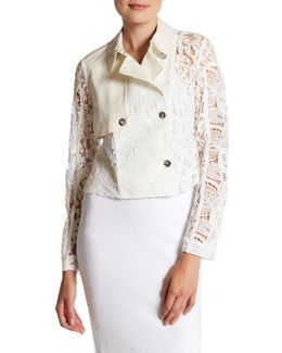 Cropped Lace Trench Coat