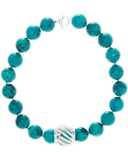 Turquoise Bead & Barrel Necklace