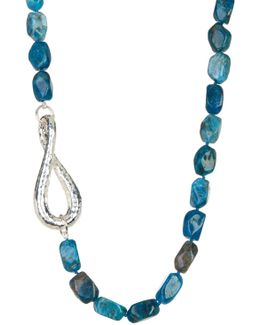 Blue Apatite Nugget & Sterling Silver Necklace