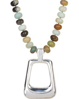 Amazonite Beaded Rectangle Pendant Necklace