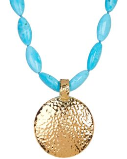Round Hammered Pendant Turquoise Necklace